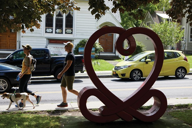 Love Knot by Ze'ev Willy Neumann on the lawn of Mirabai Books on Mill Hill Road. - DAVID MCINTYRE