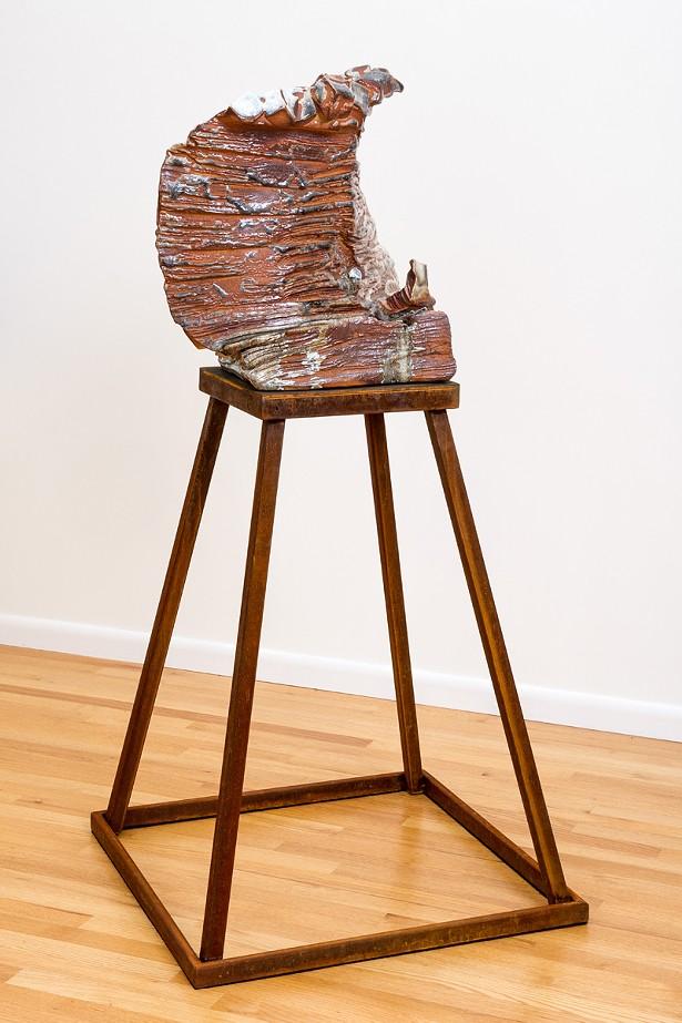 """Apparition,"" wood-fired ceramic, porcelain, glass, steel, 60"" x 29"" x 29"" - 2017"
