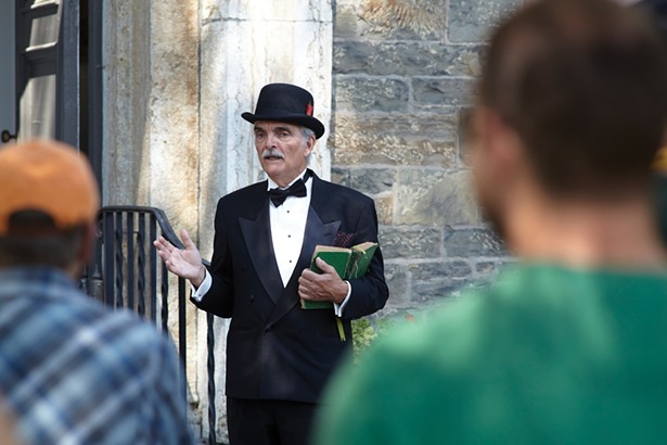 """Frank Marquette of Theater on the Road performing in """"Boomtown,"""" a living history tour at the Old Dutch Church. - DAVID MCINTYRE"""