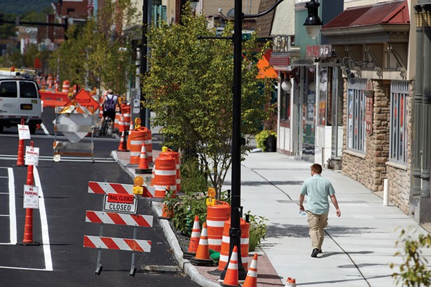 The city is nearing the end of a long-planned streetscape overhaul that has transformed Broadway, its main thoroughfare, including a dedicated bike lane. - DAVID MCINTYRE