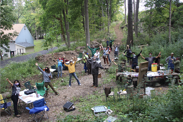KLT workshop (with Spanish interpretation) at a KLT-protected forest sanctuary on Gross Street along the Greenline.
