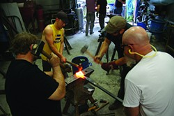 Blacksmiths forge collaborative sculpture with Jake James at The Center for Metal Arts.
