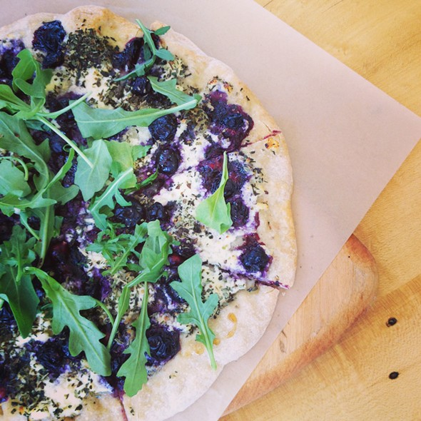 Blueberry, ricotta, arugula, and honey pizza at The Store at Five Corners in Williamstown - HILLARY HARVEY