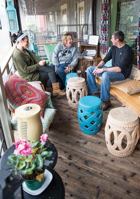 The back porch at Jar'd wine bar at the Water Street Market. - CHRISTINE ASHBURN