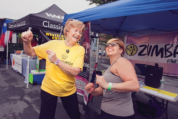 Mayor Judy Kenney with Maritza Caballero of Zumba Fitness/Newburgh Armory at the Newburgh Illuminated Festival - RUEDI HOFMANN