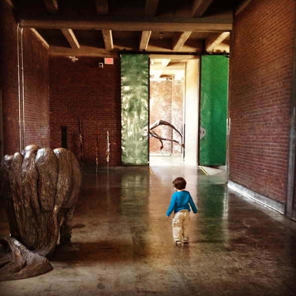 Author's son at age three in the Louise Bourgeois galleries at Dia:Beacon - HILLARY HARVEY