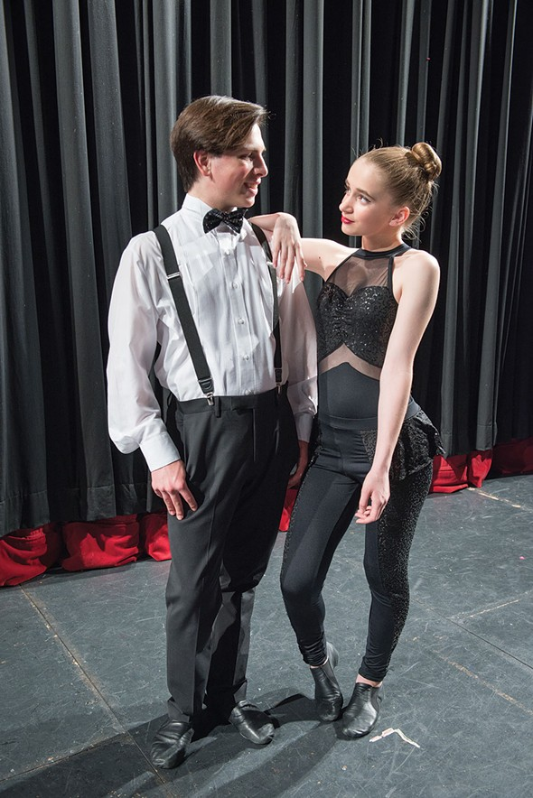 Antony Savino and Alexandria Thurtle backstage at Sugar Loaf Performing Arts Academy. - CHRISTINE ASHBURN