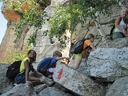 """Alexia hikes the """"Lemon Squeeze"""" at the Mohonk Mountain House with the Johnson family."""