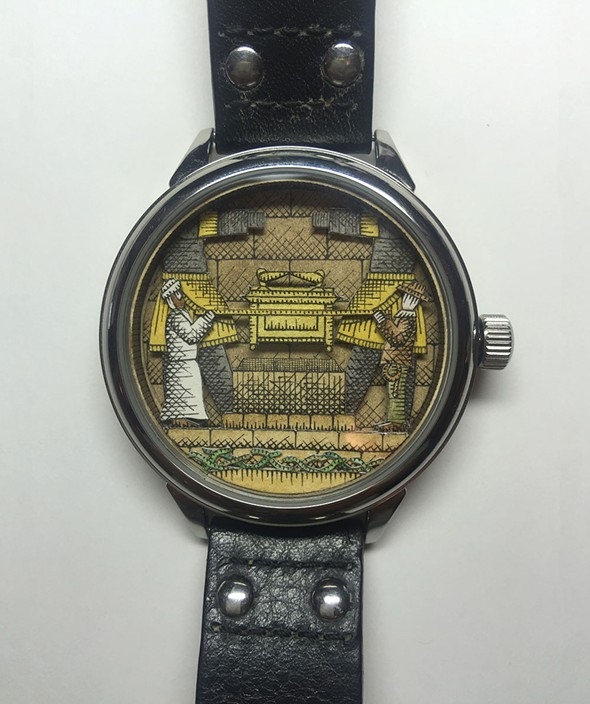 Raiders of the Lost Ark, a diorama within a watchface by Matthew Pleva.