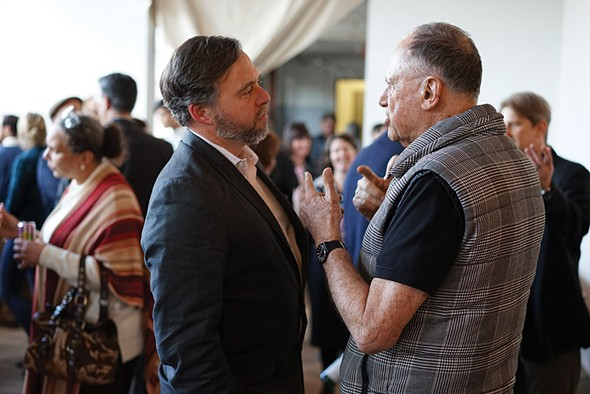 Luminary Media Editorial Director Brian K. Mahoney with realtor Daniel Aubry. - JOHN GARAY