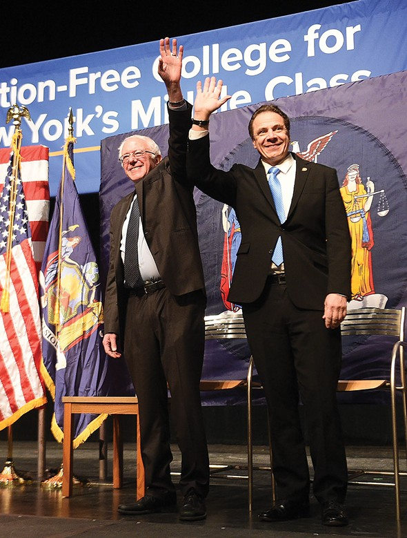 Governor Cuomo with US Senator Bernie Sanders at LaGuardia Community College for the unveiling of the first signature proposal of his 2017 agenda: making college tuition-free for New York's middle-class families at all SUNY and CUNY two- and four-year colleges.