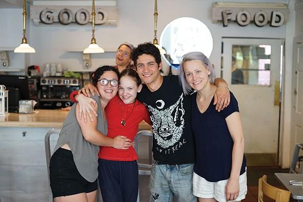 Kylla, True, Jordan, Lauren and Michael at the Garden Cafe in Woodstock. - JOHN GARAY