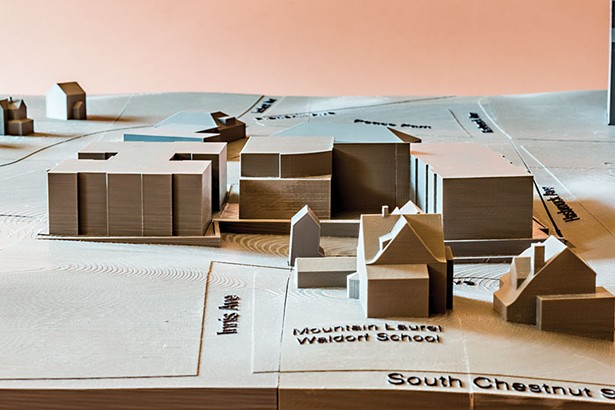 A scale model of the proposed development La Estancia at the Ridgeview. - FRANCO VOGT