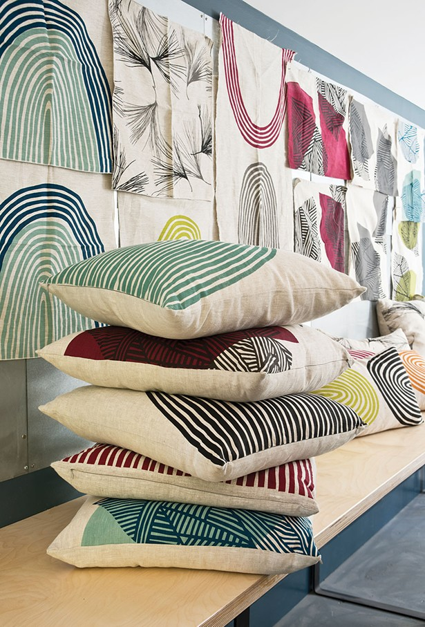 "A collection of Von Stoddard's current line of pillow designs. ""Overall, I am inspired by patterns. I see patterns everywhere; I organize the world in patterns visually. Not just of nature, but really whatever I'm surrounded by."" - DEBORAH DEGRAFFENREID"