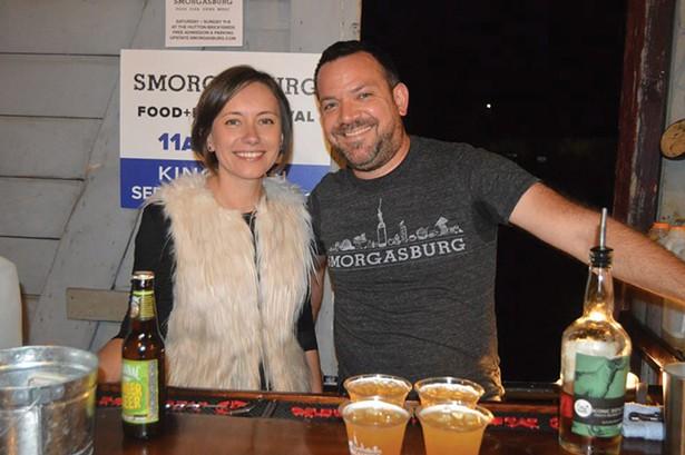 Kashka Glowacka and Benjamin Horn from Smorgasburg serving cocktails (Roy Gumpel).