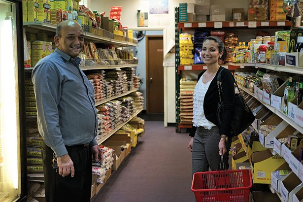 Mahesh Patel, owner, and Radhika Shah at Saraswati Grocery in Wappingers Falls. - JOHN GARAY