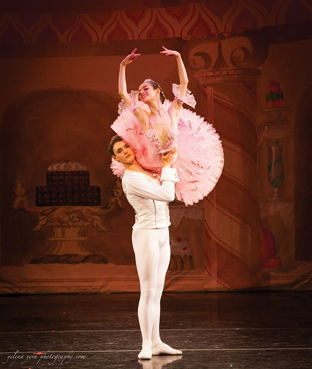 """Justin Valentine and Nikita Boris in a 2016 production of """"The Nutcracker"""" at the Orpheum Film & Performing Arts Center."""