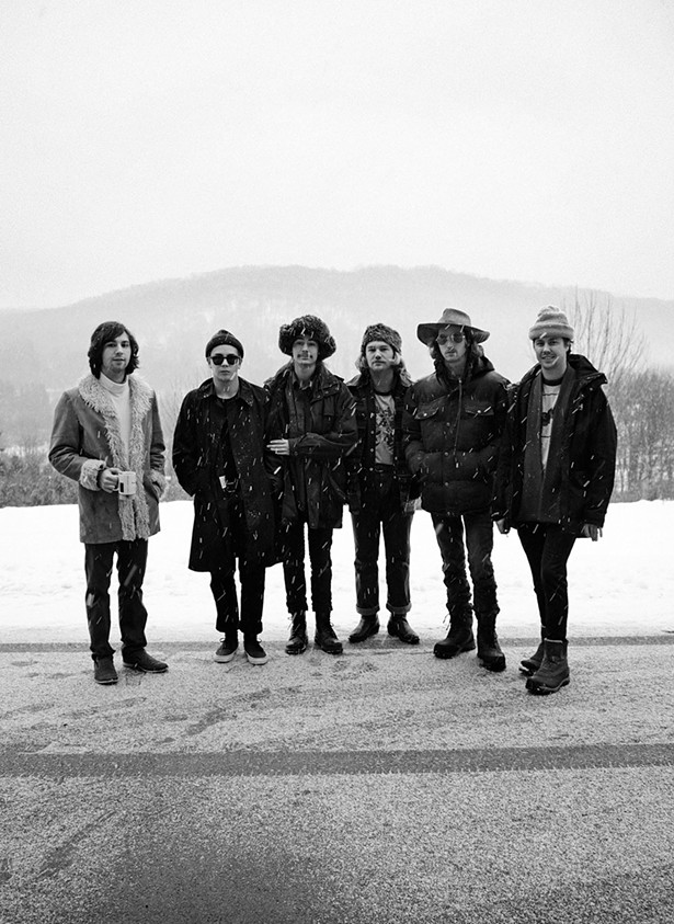 The Nude Party outside their Livingston Manor farmhouse (l-r): Patton Magee, Alec Castillo, Austin Brose, Shaun Couture, Connor Mikita, Zachary Merrill. - FIONN REILLY