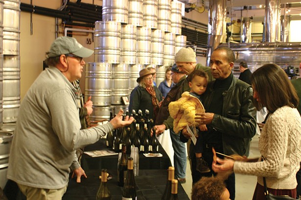 Bruce Tripp of Milea Vineyards explaining the terroir of Staatsburg-harvested grapes. - BRIAN BERUSCH
