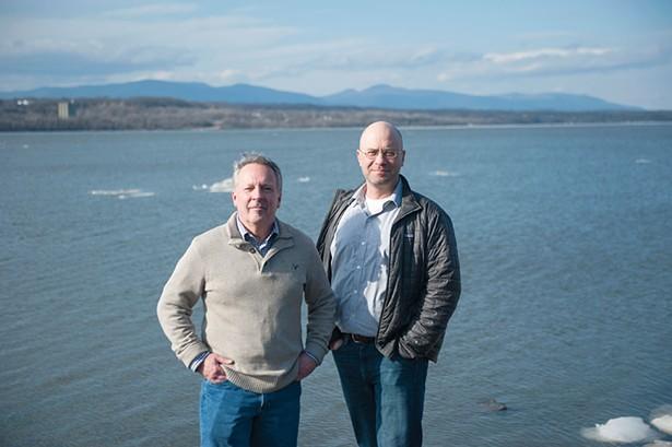 Rhinebeck Mayor Gary Barrett and Riverkeeper's Dan Shapley near the Rhinebeck water treatment plant's intake line in the Hudson River. - HILLARY HARVEY