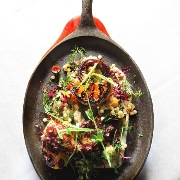 Octopus skillet, one of many delicious bites you can enjoy from 8 North Broadway during Hudson Valley Restaurant Week.