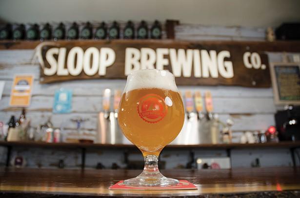 Juice Bomb, a Northeastern IPA, at Sloop Brewing in Elizaville.