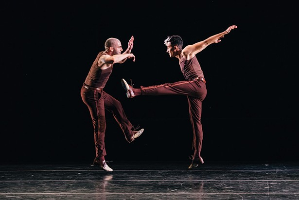 """Nathan Bugh, left, and Caleb Teicher dancing in """"Meet Ella."""" Teicher headlines a performance at the opening of PS21 new black box theater on April 14-15."""