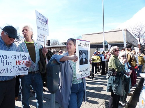 Protestors outside John Faso's office on a recent Faso Friday. - CITIZEN ACTION
