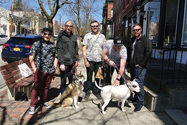 Gregg, Bryce, Robert, Ryan, Clayton and dogs Romulus and Domino in Cold Spring. - JOHN GARAY