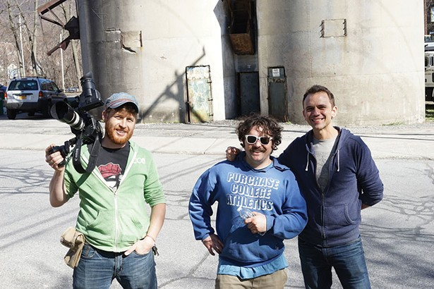 Sergei Krasikov, Ray Roy, and Gabriel Pages shooting a film in Beacon - JOHN GARAY