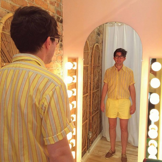 Justin wears a 1960s striped shirt and 1970s cotton shorts, from Lovefield Vintage in Kingston.