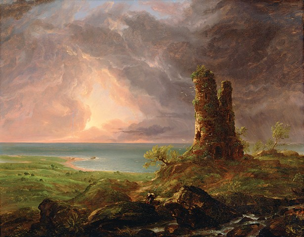 """Thomas Cole's Ruined Tower, an oil painting on composition board from 1832-6, is featured in the exhibit """"Picturesque and Sublime: Thomas Cole's Trans-Atlantic Inheritance,"""" at the Thomas Cole National Historic Site in Catskill through November 4."""