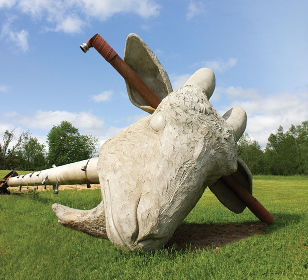 Nari Wood's Scapegoat, on view at The Fields Sculpture Park at Art Omi starting June 16.
