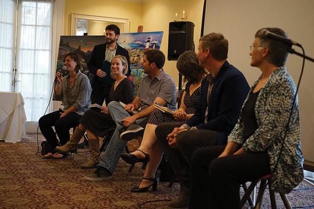 Panelists Aja Hudson, Helene Lesterin, Johnny LeHane, March Gallagher, and Matt Stinchcomb, and Myriam Bouchard with moderator Jason Stern (standing). - JOHN GARAY