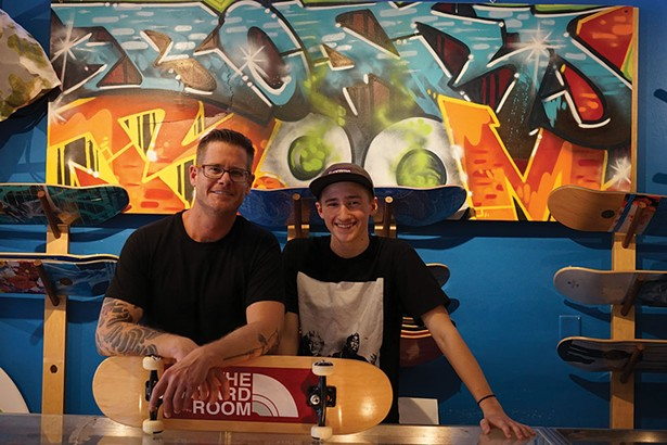 Chris and Aiden Hoffman at The Board Room in Red Hook. - JOHN GARAY