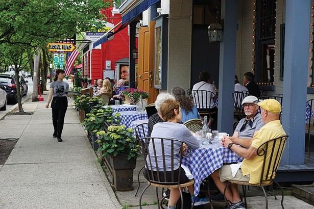 Sidewalk dining on Montgomery Street at Liberty Public House in Rhinebeck - JOHN GARAY