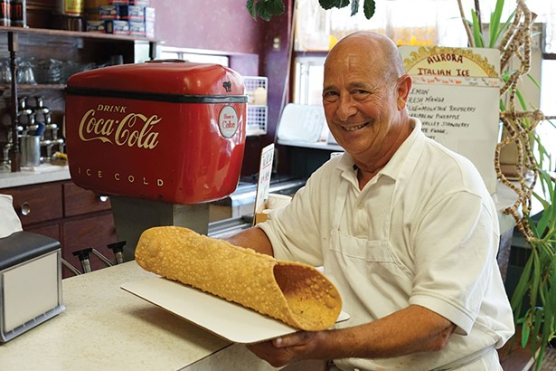 """So big, you Cannoli imagine"" Lou Strippoli at Caffe Aurora. - JOHN GARAY"