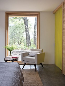 """One of the home's two bedrooms.Super insulated """"rain-screen"""" walls allow the home's temperature to remain constant and the air flowing and comfortable throughout the year. - DEBORAH DEGRAFFENREID"""