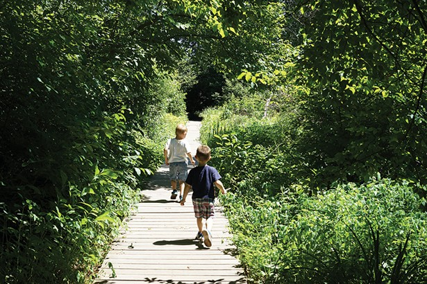 Cole and Carson on the Saugerties Lighthouse walking trail. - JOHN GARAY
