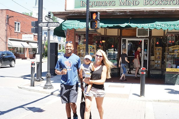 Yusef, Cameron, and Carly, crossing Partition Street in Saugerties - JOHN GARAY
