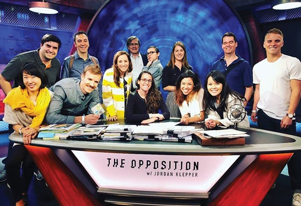 "The Dandelion team on the set of ""The Opposition with Jordan Klepper"""