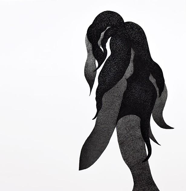 Sharon Bates, Slink, 2018, acrylic paint and ink on paper. - PAUL MIYAMOTO
