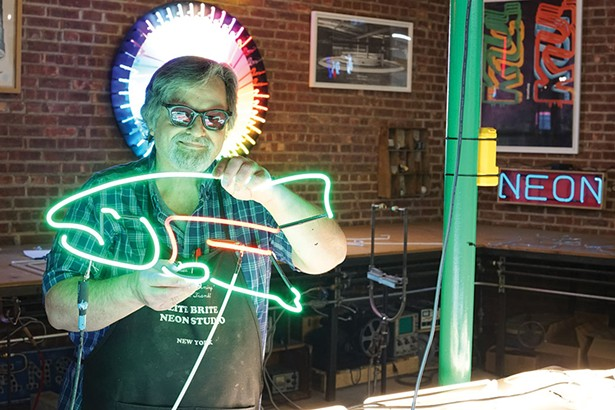 Frank Kmiec at Lite Brite Neon, one of the premier neon studios in the country. - JOHN GARAY