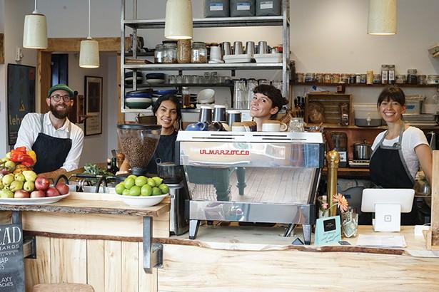 Mark Palmer, Nicole Rojas, Molly Hamilton, and Anth Palmer at Village Coffee and Goods. - JOHN GARAY