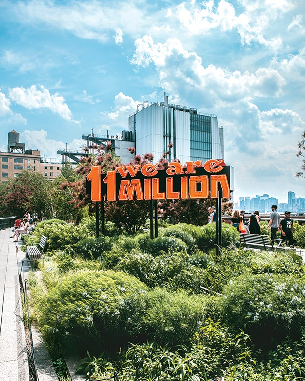 """""""Somos 11 Millones/We Are 11 Million,"""" Andrea Bowers in collaboration with Movimiento Cosecha, on the High Line in New York City."""