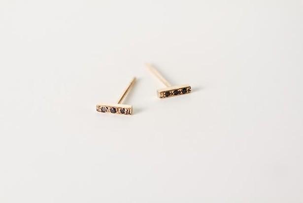 Micro-pave black diamond earrings, Rebecca Peacock
