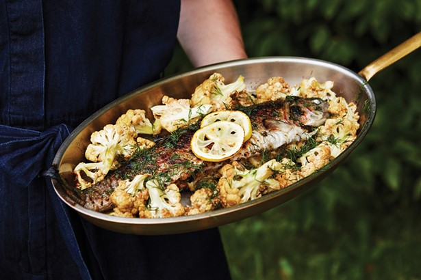 Local roasted trout stuffed with pine nuts and ramps and roasted cauliflower. Margaretville once was the cauliflower capital of the East Coast. - NATALIE CHITWOOD