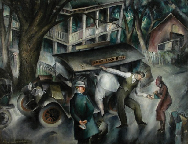 Earl B. Winslow, The Woodstock Bus, c. 1930, oil on canvas. Woodstock Artists Association & Museum.