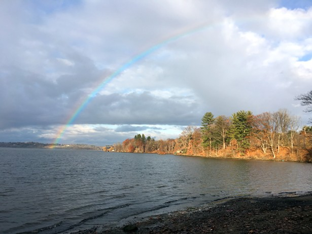 Rainbow over the Hudson River along the White Trail at Staatsburg Historic Site. Photo Eric Ortner