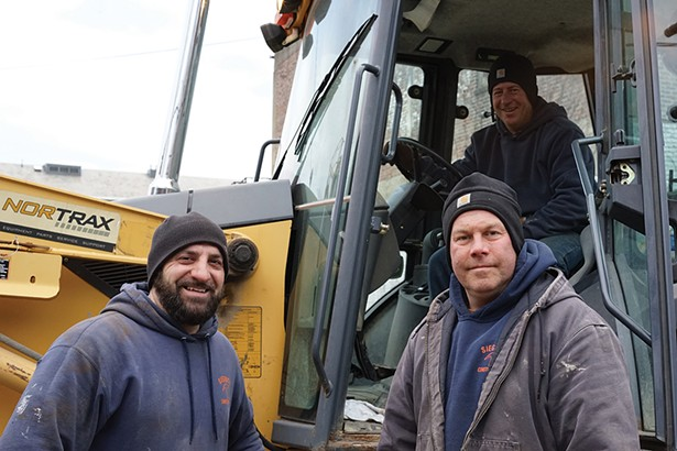 Angelo, Anthony, and Jimmy of Siegrist Construction working at the Mid-Hudson Heritage Center on Main Street. - PHOTO BY JOHN GARAY